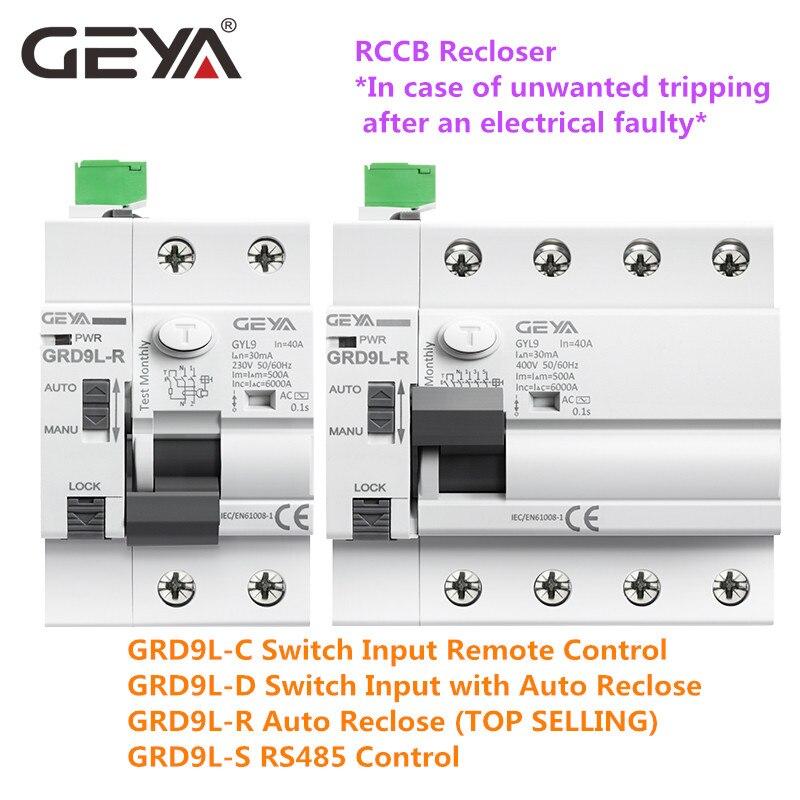 GRD9L-R Auto Reclosing Device Remote Control Circuit Breaker 2P 4P 40A 63A 30mA 100mA 300mA RCD 6KA ELCB RCCB GEYA